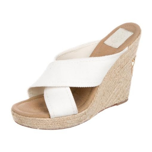 c1fd15c13 Tory Burch White Canvas Kristen Espadrille Wedge. M 5b40fdd69539f7fb55ab3b2e